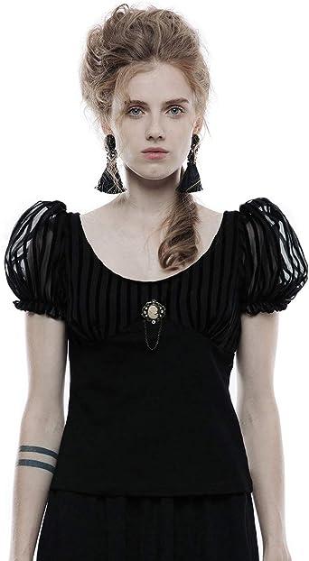 Punk Rave Gothic estilo g/ótico color negro Camiseta de manga corta para mujer