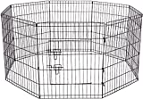 Paws & Pals 8-Panel Folding Wire Exercise Pen Fence Gate Playpen with Door for Dog Pets, 36'' H x 24'' W