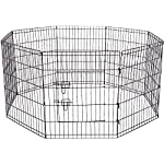 Paws & Pals Dog Exercise Pen Pet Playpens for Dogs – Puppy Playpen Outdoor Back or Front Yard Fence Cage Fencing Doggie Rabbit Cats Playpens Outside Fences with Door – Metal Wire 8-Panel Foldable