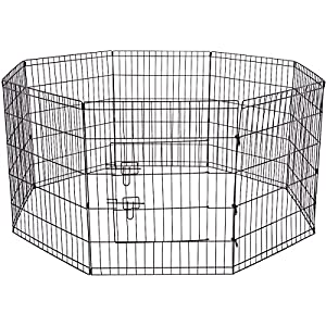 Paws & Pals Dog Exercise Pen Pet Playpens for Dogs - Puppy Playpen Outdoor Back or Front Yard Fence Cage Fencing Doggie Rabbit Cats Playpens Outside Fences with Door - Metal Wire 8-Panel Foldable 45