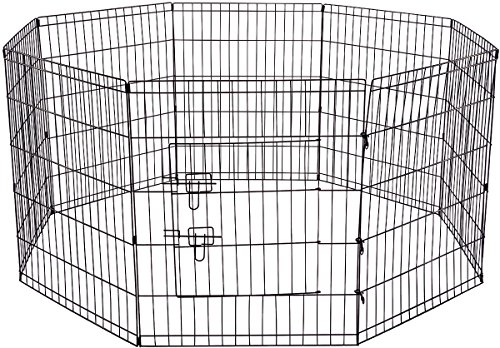 Dog Exercise Pen Pet Playpens for Large Dogs – Puppy Playpen Outdoor Back or Front Yard Fence Cage Fencing Doggie Rabbit Cats Playpens Outside Fences with Door – 36 Inch Metal Wire 8-Panel Foldable