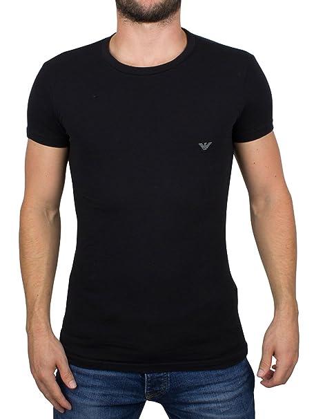 Emporio Armani Hombre Camiseta del logotipo, Negro, Medium