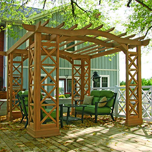 Cheap  Yardistry Arched Roof Pergola Gazebos with Plinth, Tugboat