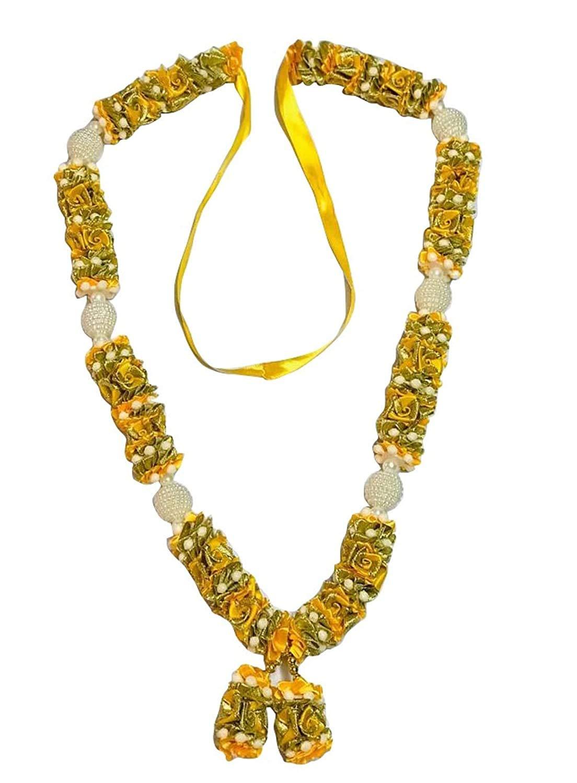 Krisah® Cloth Flowers with Pearl Balls Garland/Mala 1 m (Yellow) 1piece