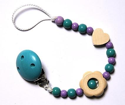 Baby Chupete con cadena de perlas de madera. Turquesa y lila ...