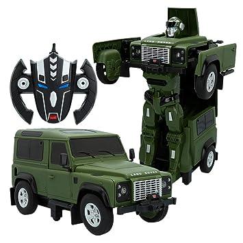 RASTAR- Coche radicontrol Land Rover Defender transformable, Color verde (ColorBaby 85340)