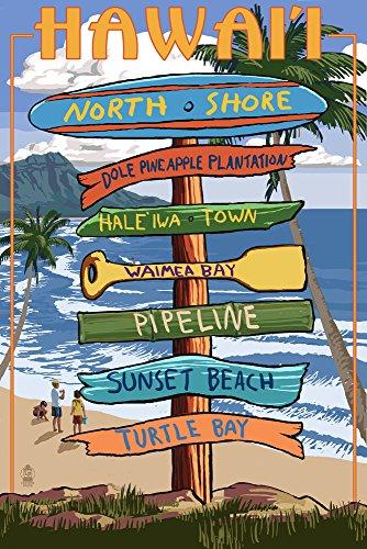 North Shore, Oahu, Hawaii - Sign Destinations (12x18 Art Print, Wall Decor Travel (North Shore Oahu Hawaii)