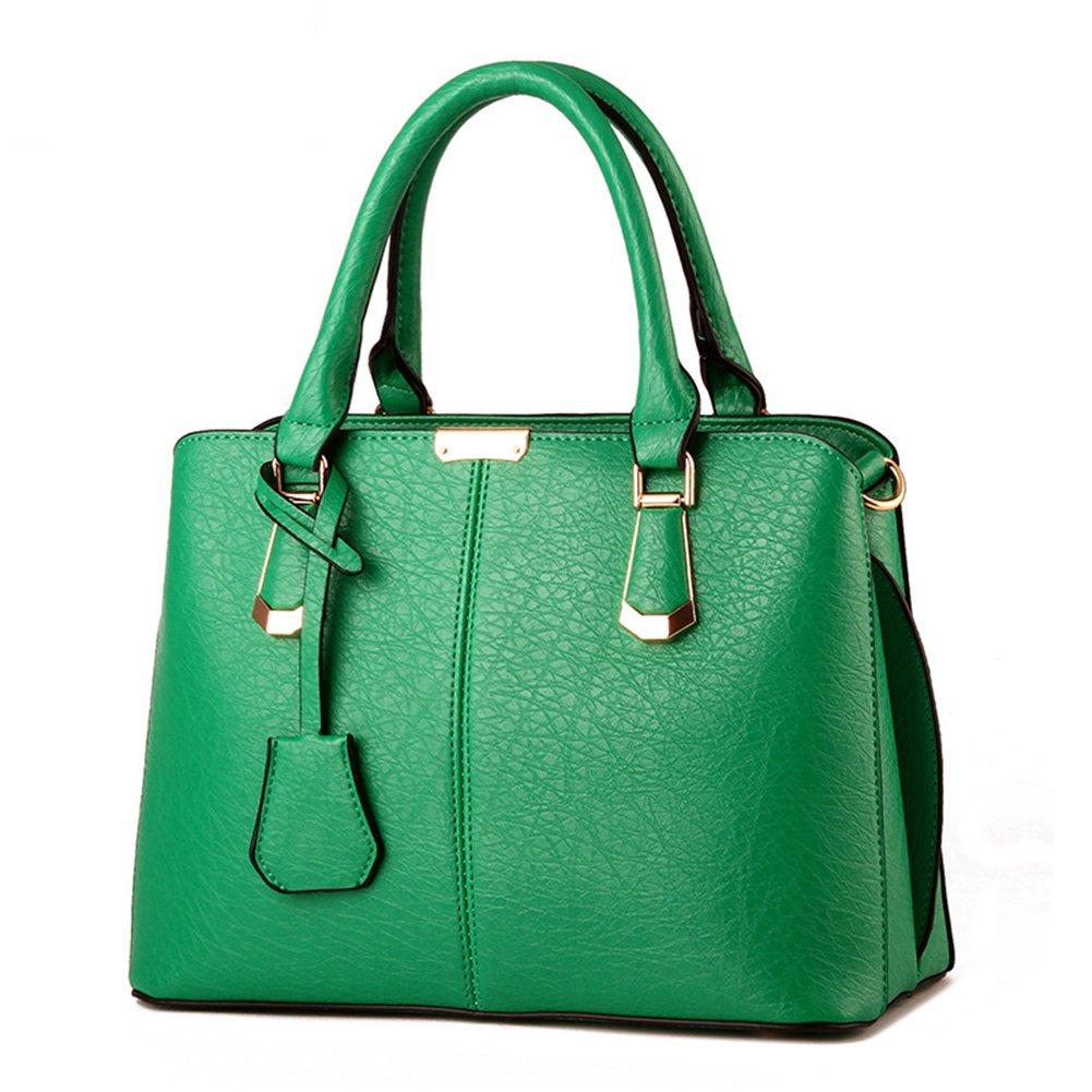 Pahajim women handbags PU leather top handle satchel tote purse shoulder bags (green)