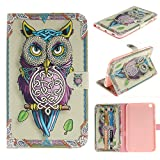 Galaxy TAB 3 8.0 Case,T310 Case,IVY [Kickstand Feature][Card Slot][Cash Pockets][Magnetic Buckle][Leaves Owl] Premium PU Leather Wallet Flip Case For Samsung Galaxy TAB 3 8.0 Inch P8200 T310 T311