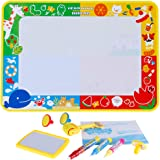 Anpro Water Drawing Mat 70*100cm - Water Doodle Mat with 3 Pens,3 Stamps , 1 Drawing Book - Drawing Painting Toy, Perfect Educational Toys for Children Over 2 Years