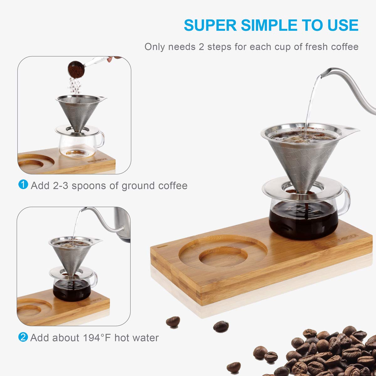 4 pcs/set, Single Serve Coffee Maker, Stainless Steel Coffee Dripper, Pour Over Coffee Maker, One Cup Coffee Maker Set, 8 oz Coffee Cup, Convenient Compact Dishwasher Safe Paperless Gift-ready Package by SEMKO (Image #3)