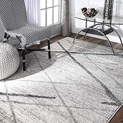 nuLOOM Thigpen Contemporary Area Rug, 5' x 8', Grey, Gray - Made in Turkey PREMIUM MATERIAL: Crafted of durable synthetic fibers, it has soft texture and is easy to clean SLEEK LOOK: Doesn't obstruct doorways and brings elegance to any space - living-room-soft-furnishings, living-room, area-rugs - 61v%2BEmlZCIL. SS400  -
