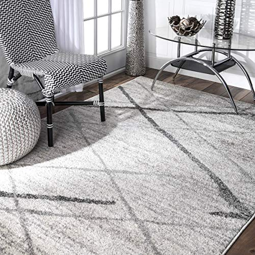 Contemporary Striped Polypropylene Grey Area Rugs, 5 Feet by 8 Feet (5' x 8')