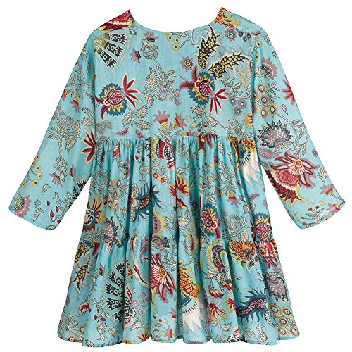 Women's Tunic Top - Fantasy Floral A-Line/Notch Neck 3/4 Sleeves - Blue - 1X
