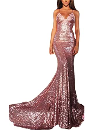 VikDressy 2017 Womens Rose Pink Sequined Mermaid Prom Dress Spaghetti Straps Backless Evening Gown