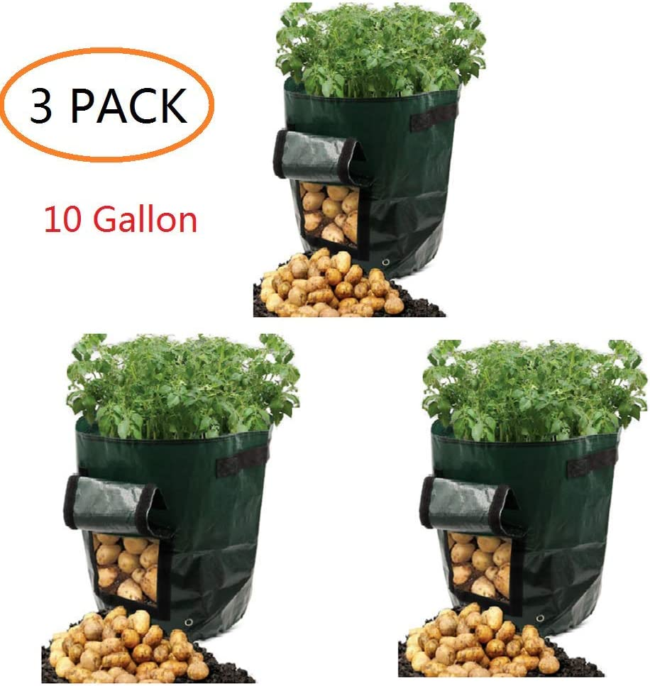 YOQXHY Potato Grow Bags 10 Gallon Garden Vegetables Planter Bags with Handles and Access Flap for Planting Potato Carrot Onion Taro Radish Peanut,3-Pack, 10 Gallon