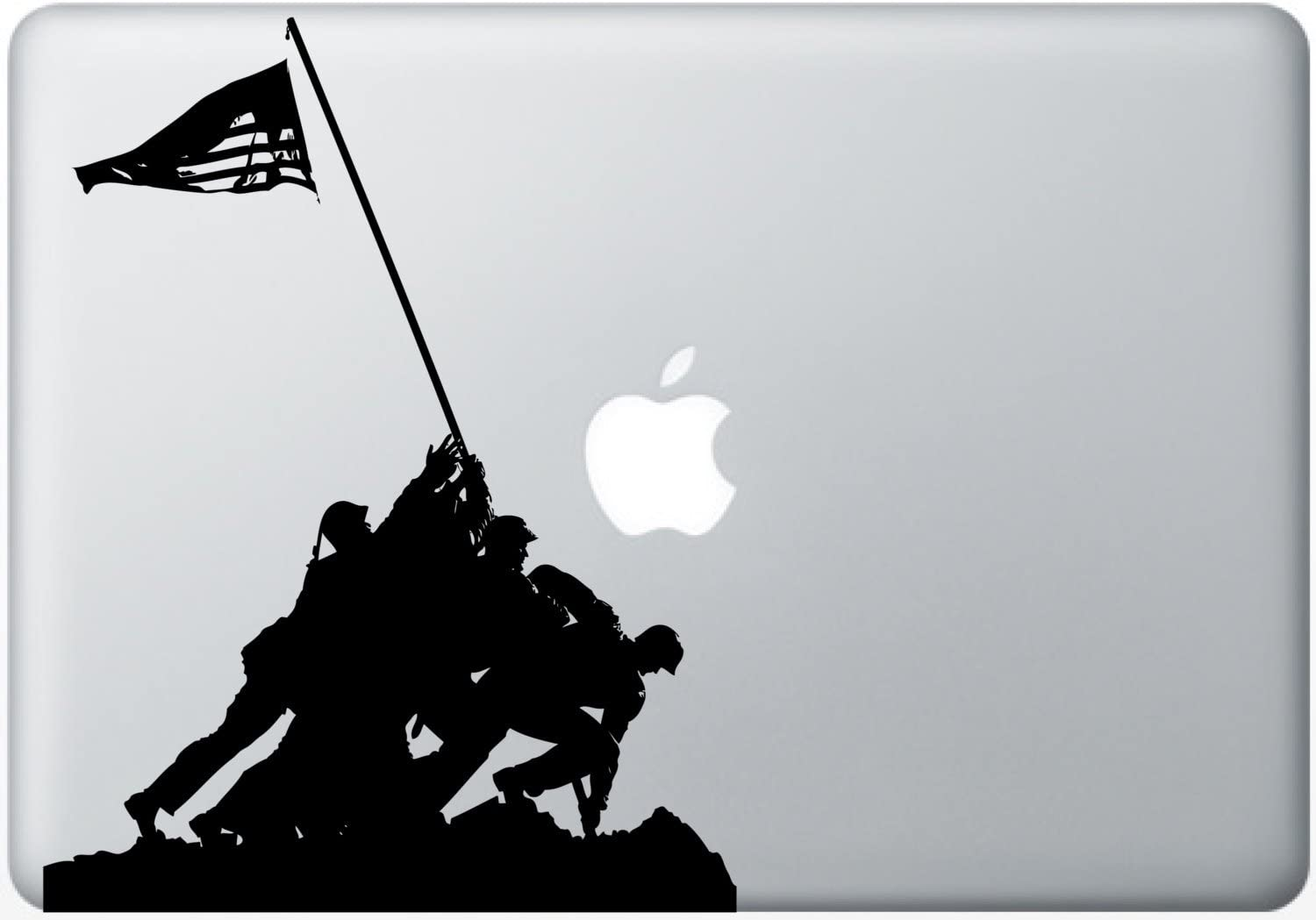 Silhouette cutout of American Marines raising the American Flag Decal Laptop Skin Sticker for Macbook, iPhone, Apple iPad