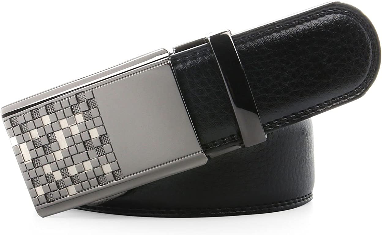 AUVINE Mens Leather Belt Ratchet Belt for Men with Solid Automatic Buckle