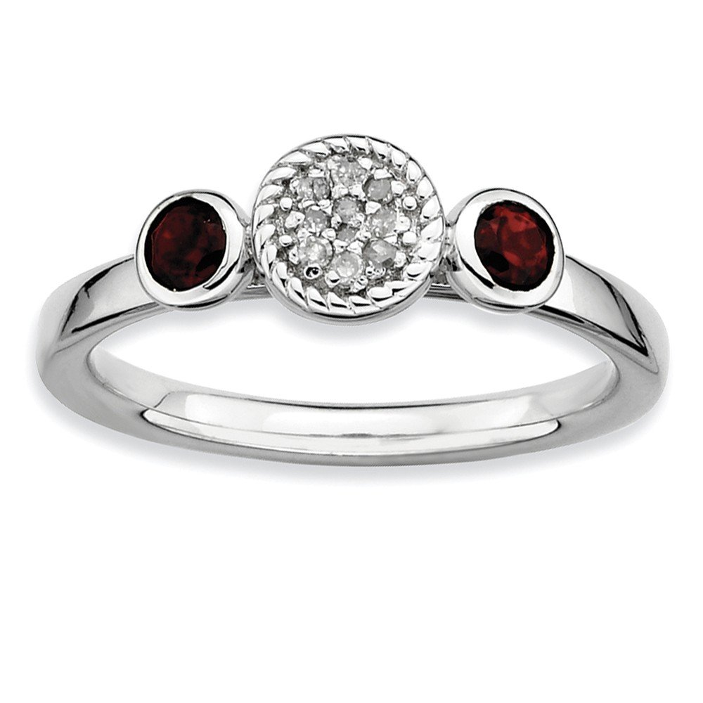Top 10 Jewelry Gift Sterling Silver Stackable Expressions Dbl Round Garnet & Dia. Ring