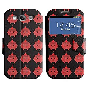 Be-Star Colorful Printed Design Slim PU Leather View Window Stand Flip Cover Case For Samsung Galaxy S3 III / i9300 / i717 ( Red Cherries ) Kimberly Kurzendoerfer