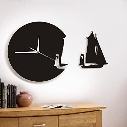The Geeky Days Yacht Leaving Clock Sailing Boat Modern Wall Clock Sea Style Beach Home Decor