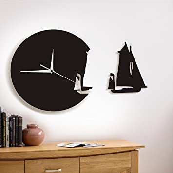 QUTICL Yacht Verlassen Wanduhr Modernes Design Home Decor Meer Style Wand  Sehen Sie Das Segelboot Schiffs
