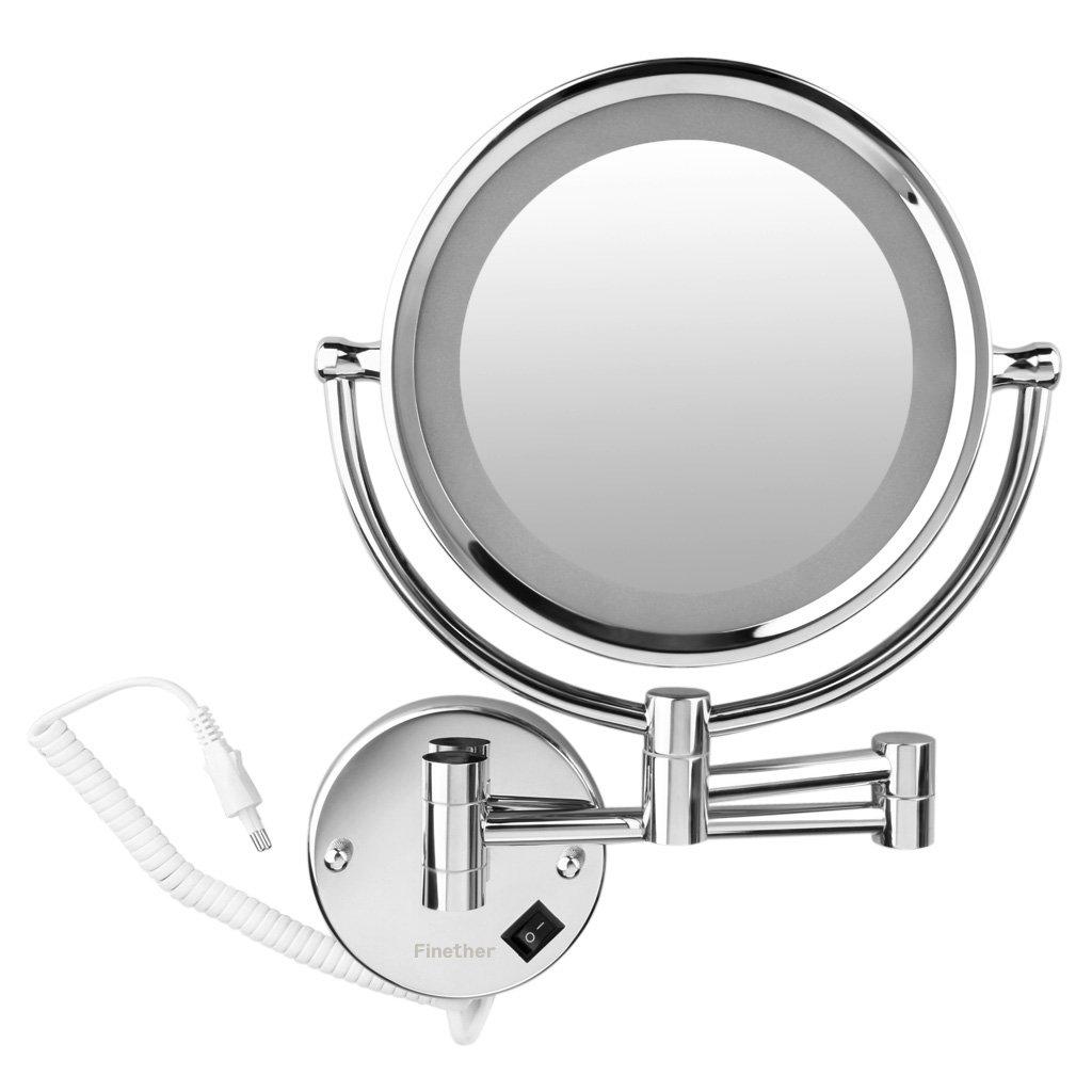 Espejo de Maquillaje con Luz LED Plata 7 x Aumento Espejo de Aumento de Pared Extensible Espejo de Tocador Ba/ño de Doble Cara Plegable 21.5cm de Di/ámetro 360/° giratorio Espejo de Pared