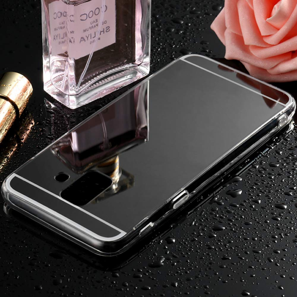 Nadoli Miroir Coque Galaxy A8 2018,Ultra Slim Etui Miroir de Maquillage Coque Cas Couverture Etui Coque en /Étui Housse Souple pour Samsung Galaxy A8 2018,Or