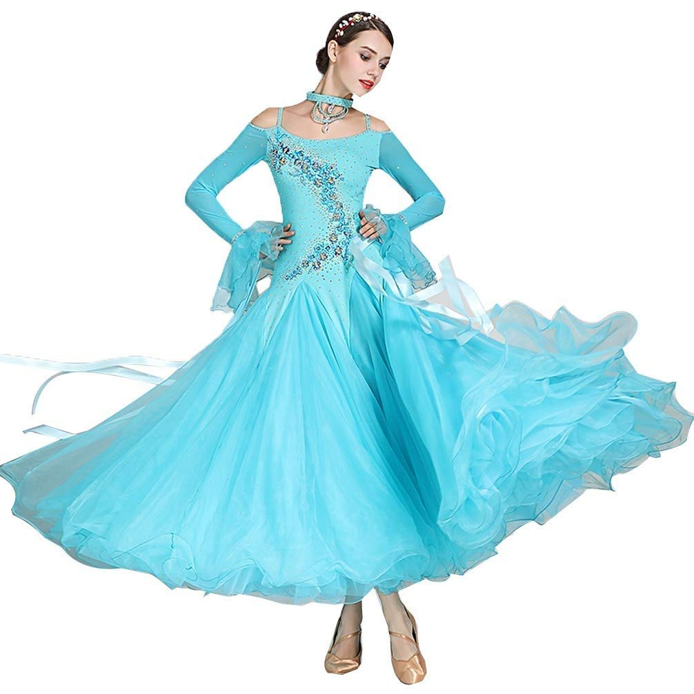 最新のデザイン 大人の女の子Waltzモダンダンスコンペティションドレス国家標準社交公演長袖ドレスタンゴラインストーンコスチューム ライトブルー L、もっと色 B07Q3FCKB9 L l|ライトブルー ライトブルー l L l, ジェームスリセールガレージ:d4010601 --- a0267596.xsph.ru