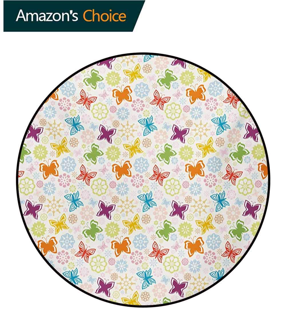 RUGSMAT Butterfly Modern Flannel Microfiber Non-Slip Machine Round Area Rug,Cartoon Style Animal Silhouette with Flower Patterned Background Vibrant Image Floor Mat Home Decor,Diameter-71 Inch by RUGSMAT (Image #3)