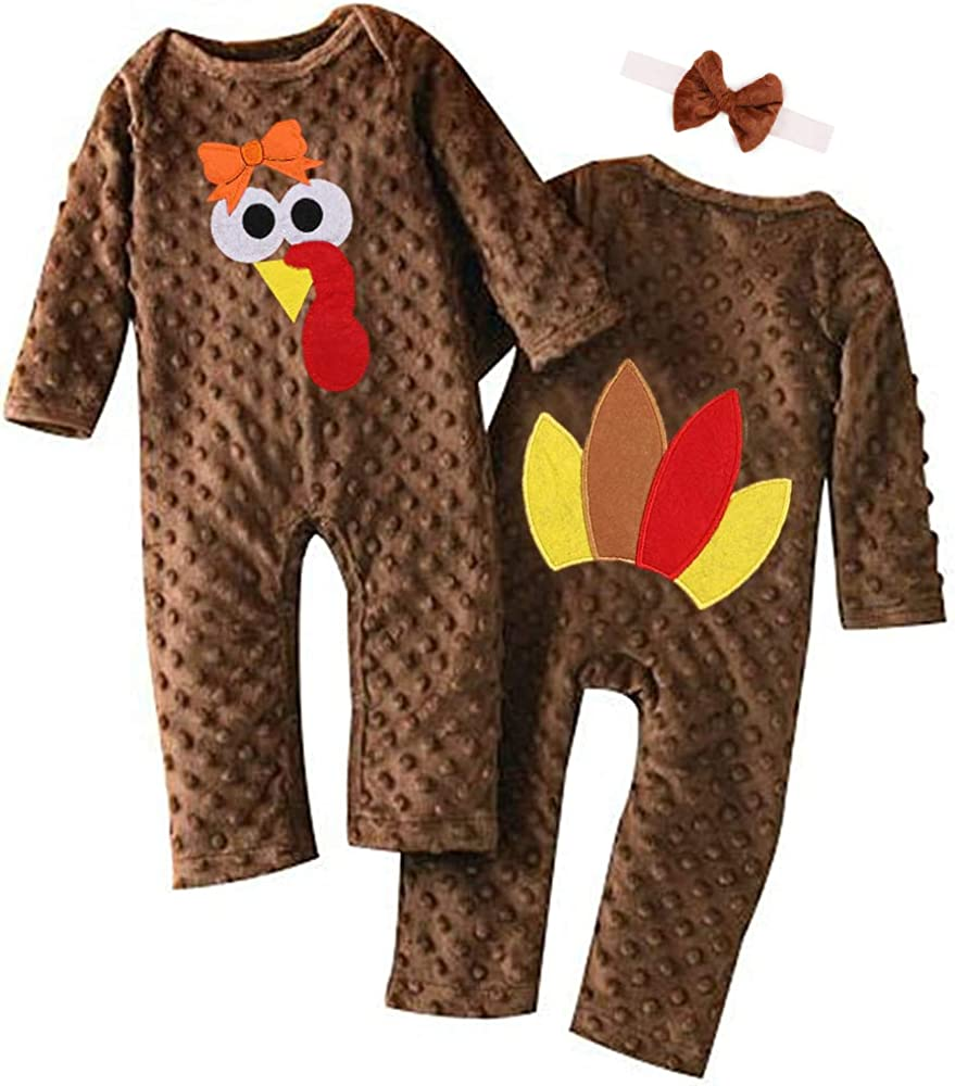 Zimuuy Newborn Baby Lettr Turkey Print Romper Pants Set Lovely Baby Thanksgiving Costume Outfits Warm