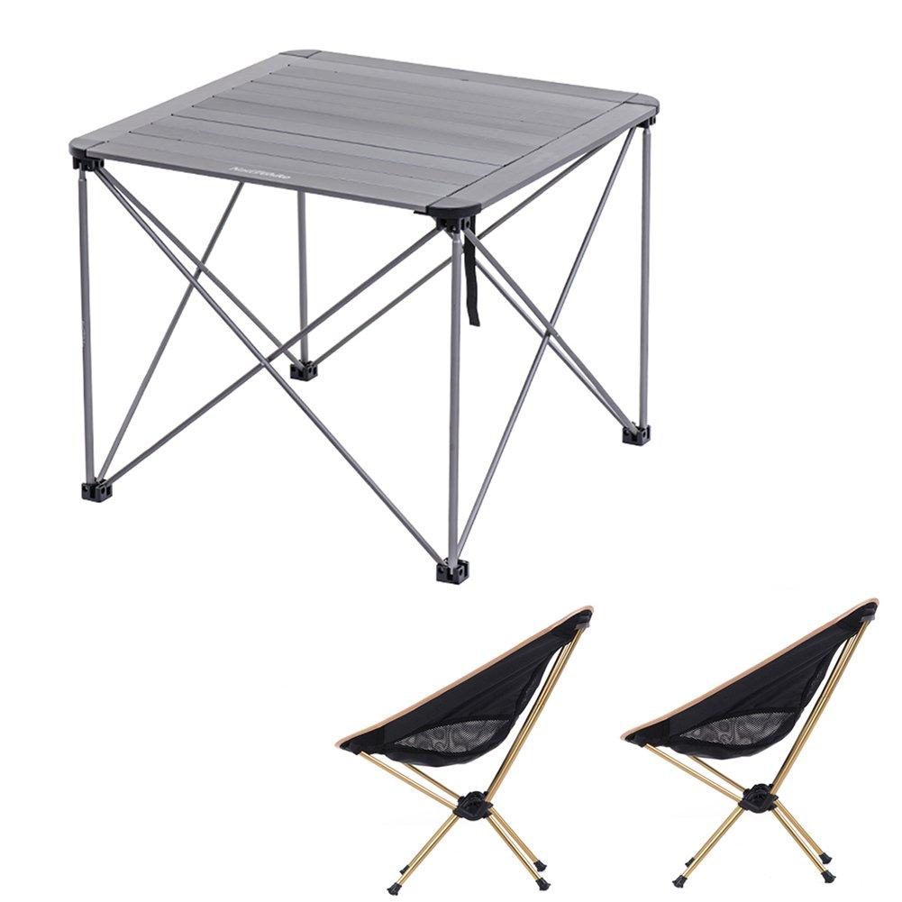 QIANGDA 屋外/アウトドア 折りたたみ テーブル2本と椅子 多用途 重荷を負う アルミニウム合金 重さが軽い 戸外 レジャー 8色 オプション ( 色 : Titanium color+gold ) B07CM6VX7T Titanium color+gold Titanium color+gold