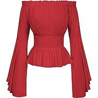 Belle Poque Gothic Blouse Middeleeuwse Blouse met Lange Mouwen voor Dames