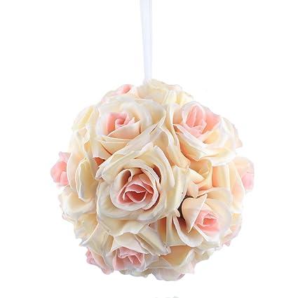 Amazon.com: AerWo 10Pcs x Champagne Rose Flower Ball Artificial ...