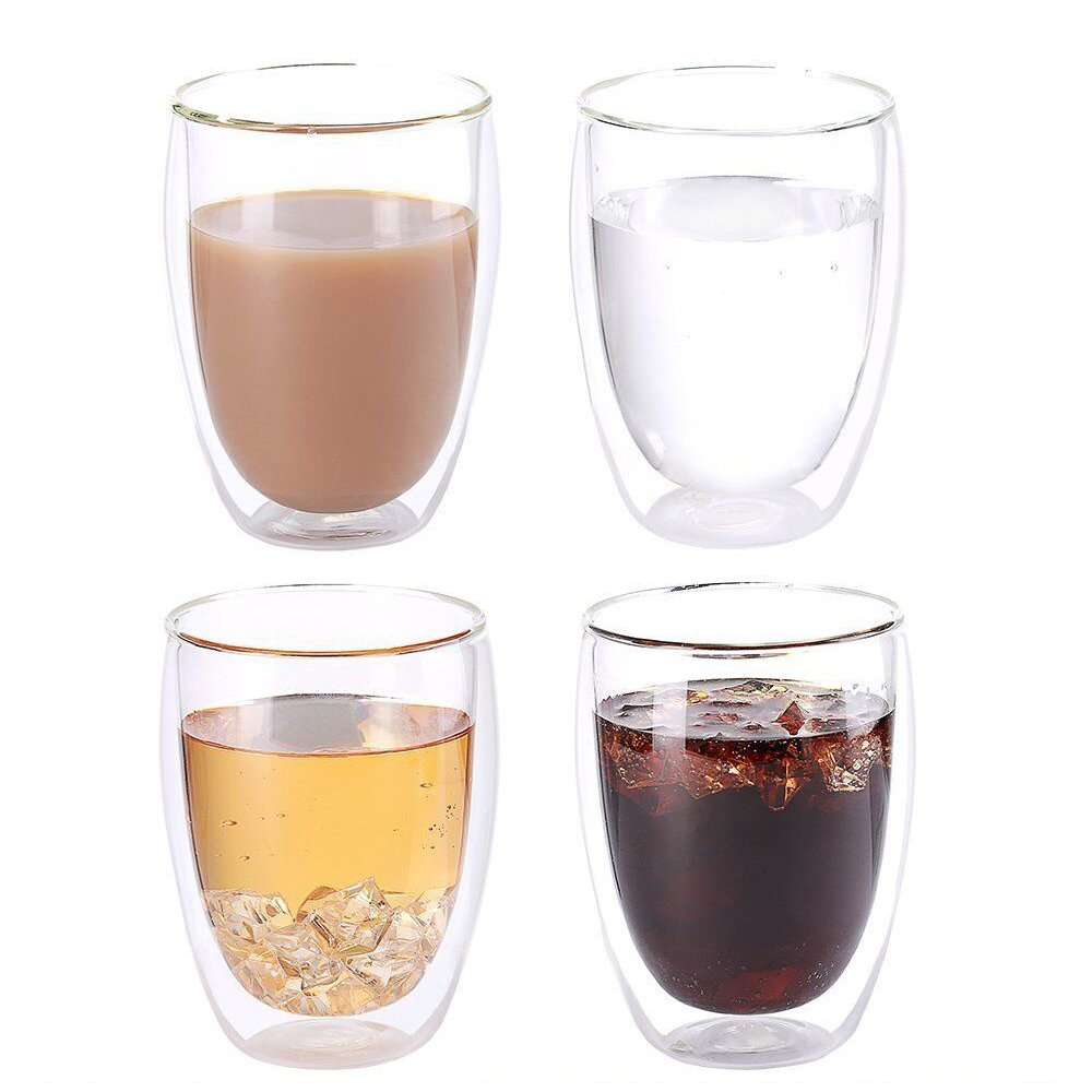 NDHT Heat Resistant Double-Wall Insulated Glass Espresso Mugs Latte Coffee Glasses/Whisky/Coffee Cup/Tea Mug - 250ml (9 oz), Set of 2