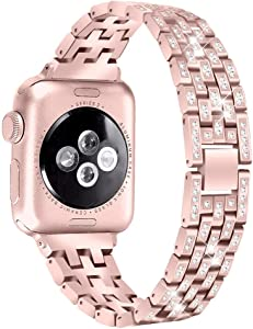 Watch Series 3 38mm Bands Bracelet, Stainless Steel Watchband with Shiny Rhinestone Replacement Metal Jewelry Adjustable Wristband Lady Watch Strap Accessory for 38mm iWatch Series 3/2/1, Rose Gold