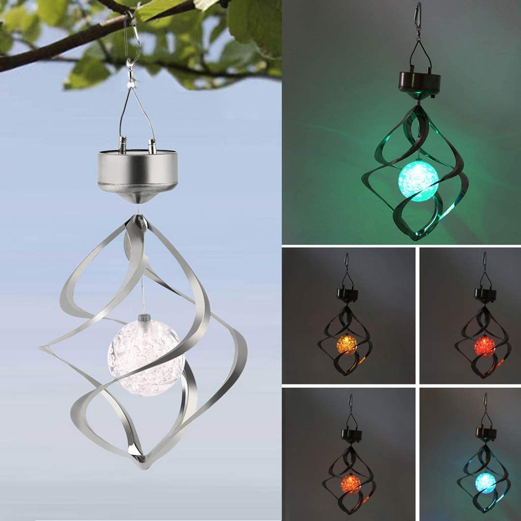 DSDecor Solar Wind Chimes Light LED Changing Color Solar Hanging Light for Garden Patio Yard Lawn Balcony Porch Decorations