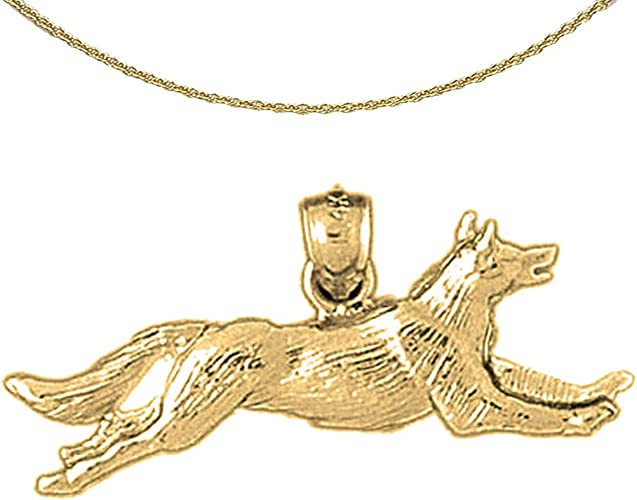 Jewels Obsession Dog Necklace 14K Yellow Gold-plated 925 Silver Dog Pendant with 18 Necklace