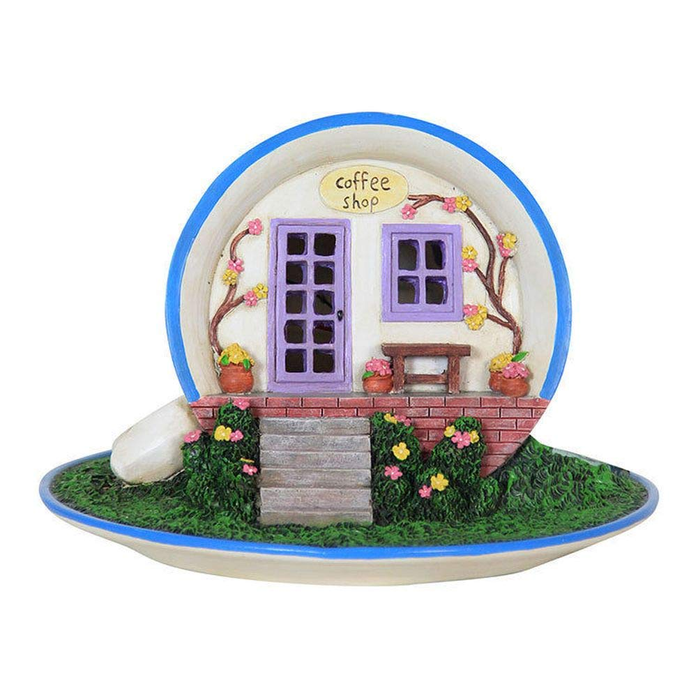 Miniature Dollhouse FAIRY GARDEN - Coffee House - Battery Powered - Accessories