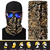 3D Face Sun Mask, Headwear, Neck Gaiter, Magic Scarf, Balaclava, Bandana, Headband for Fishing, Hunting, Hiking, Yard work, Moisture Wicking UV Protection, Great for Men & Women