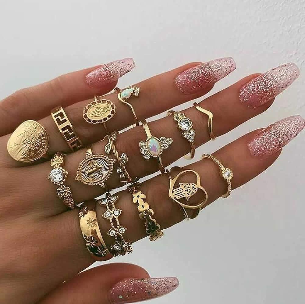 Dusenly Juego de 15 anillos de oro para mujer, diseño retro con moneda de oro