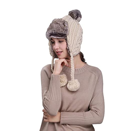 Lisin Warm Women Winter Hat with Ear Flaps Snow Ski Thick Knit Wool Beanie  Cap Hat 6715cfeadf1