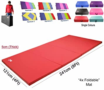 Xn8 Sports Yoga Cuatro (4) Plegable (5 cm de Grosor 8 ft Largo 242 cm * 121 Cm (Mismo diseño como Tri Plegable Mat) Alfombrillas de Espuma Yoga ...