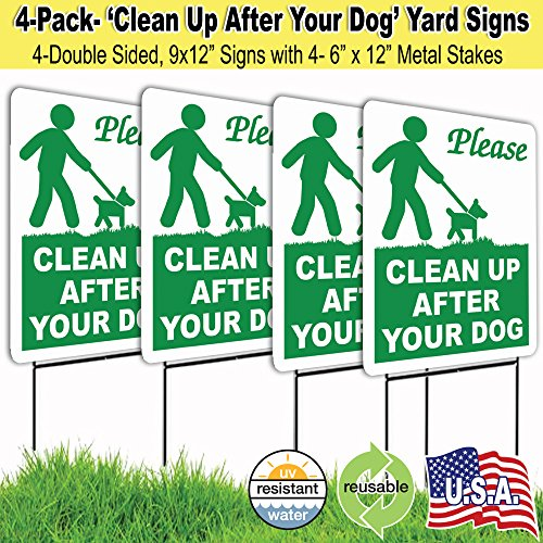 4 Pack 9x12 Clean Up After Your Dog Lawn Signs with H-stakes (Pets Led Sign)