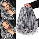 6Packs Goddess Faux Locs Crochet Hair 16 Inch Straight Goddess Locs with Curly Ends Synthetic Crochet Hair Braids for Black Women(Mixed Gray)