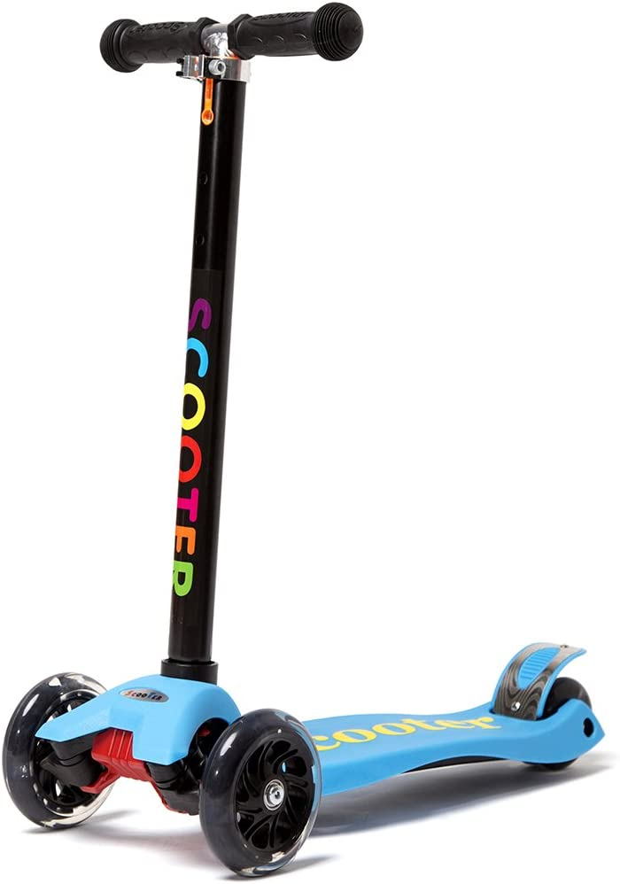 KAMURES Kick Scooter, 4 Adjustable Height Mini Kids Scooter with 3 Pu Flashing Wheel and Deluxe Aluminium Tube for Kids Ages 3-12 Years Old