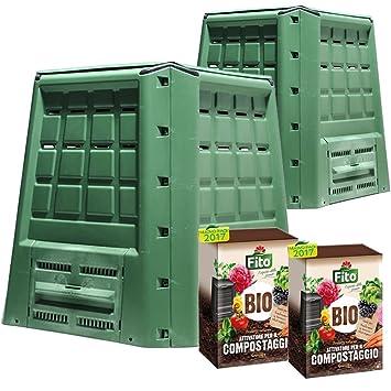 Multipack 2 compostiere ecobox Fast 380 LT + 2 paquetes de Activador compostaje kg 4: Amazon.es: Jardín