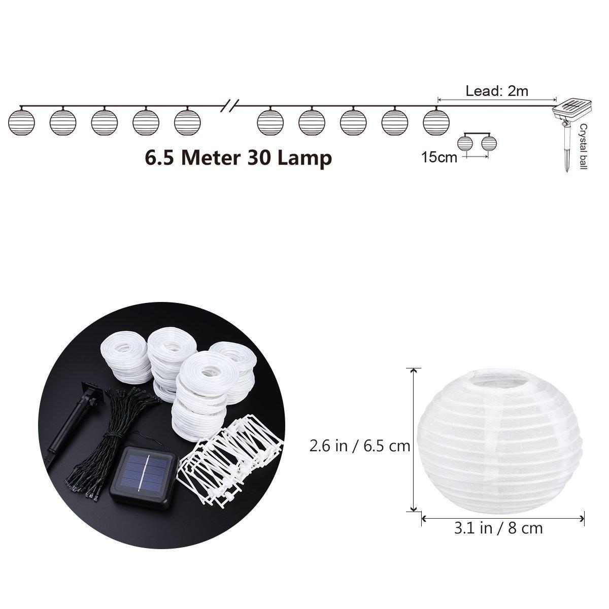 Solar LED Lanterns String Lights ALED LIGHT 13.2Ft 4M 20 LED Waterproof Outd...