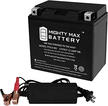 Mighty Max YTX14AH GEL Battery Replaces Honda Quad ATV 12V 2Amp Charger