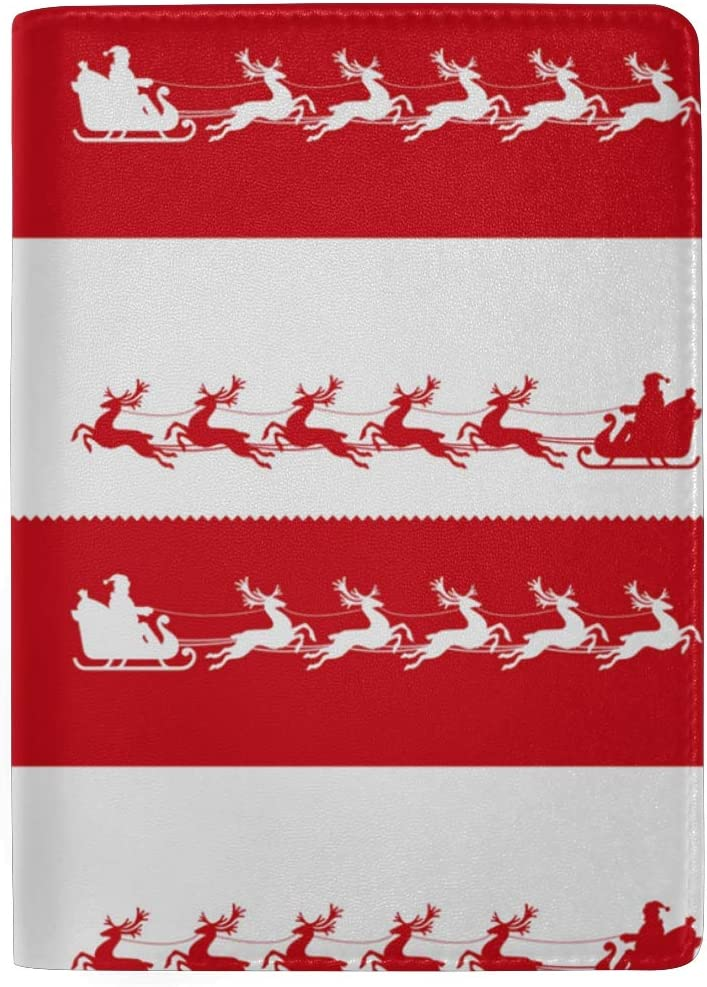 Santa Claus In Red And White World Leather Passport Holder Cover Case Blocking Travel Wallet